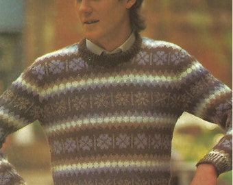 Mens knit  shetland sweater  contrasting colours or one colour pullover jumper tunic vintage pattern instant download pdf