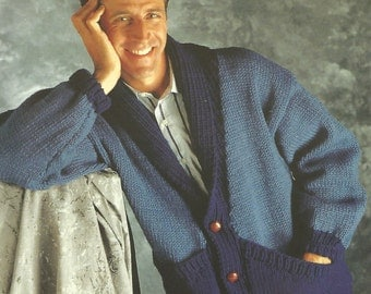 knit mens comfy classic sweater buttoned  front with large  pockets long sleeves cardigan collared vintage pattern instant download pdf