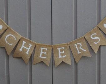 Cheers Burlap Banner, Cheers Wedding Sign, Burlap Bunting, Burlap Garland, Rustic Wedding, Barn Wedding, Cheers Sign, Wedding Reception Sign