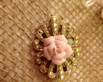 Vintage Ceramic Rose Brooch Pin with Iridecent Diamonds and Pearls