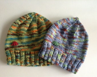 Boys Hat - with Dinosaur Button - Ribbed Edge