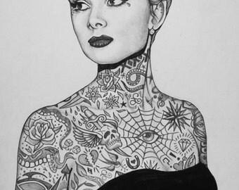 Audrey Hepburn Tattooed Portrait Print