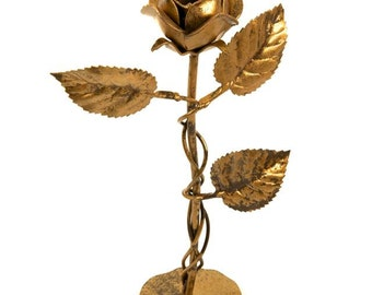 Single rose candleholder antique gold