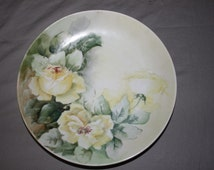 Vintage R C Bavaria Plate ~Hand Painted~ Yellow Roses