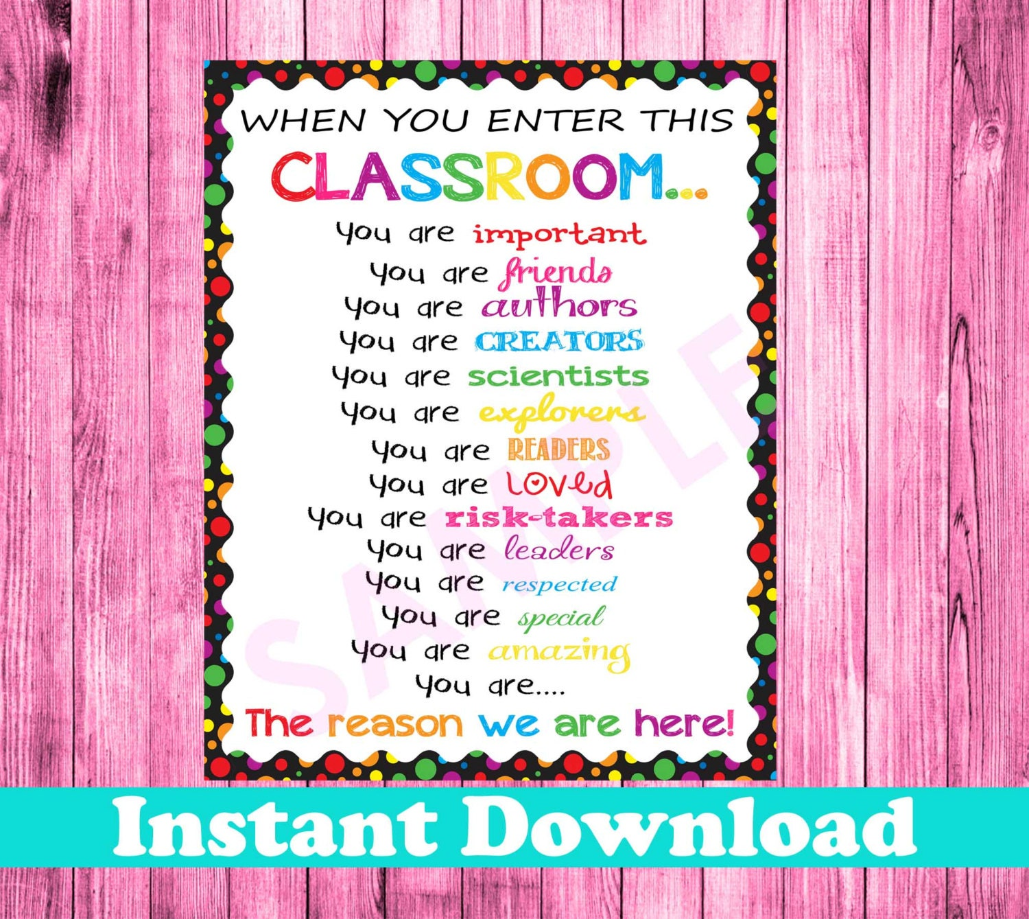 Classroom Decor Etsy ~ When you enter this classroom sign instant download