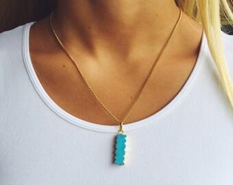 Teal Bar Necklace