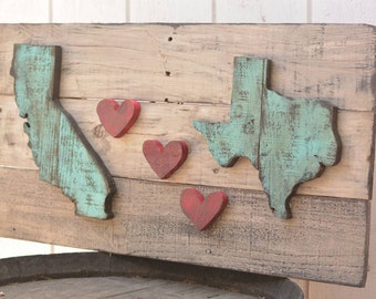 California heart Texas Wood sign (or any states of your choosing)