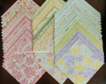 "DCWV The Fresh Floral Stack LOT of 60 Sheets of 12"" x 12"" Scrapbook Paper"