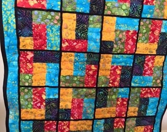 Batik lap quilt 51 in x 43 in hand made