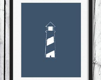 Nautical Print, White on Navy Blue Lighthouse Print, Navy Blue Wall Art, Nautical Art, Printable Art, Wall Decor
