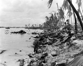 Guadalcanal, Historic WWII Photo, Marines, WWII, History, Marines Landing, Combat Photography, Pacific, Vintage Military, Wall Art