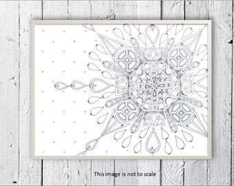 Mandala Print, Home décor, Jewellery print, Art print, Geometric print, Mandala drawing, Colouring Page, Colouring book, Black and white