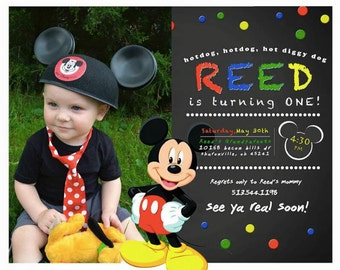 Mickey Mouse Birthday Invitation with picture