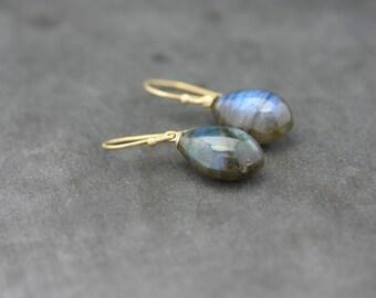 Earrings of Labradorite dark, 18 kt gold