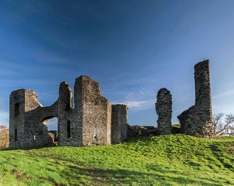 The castle at Newcastle Emlyn, Wales, Fine Art Print
