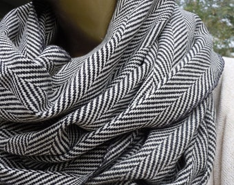 Herringbone Scarf, Mens Scarf, Grey Herringbone Infinity scarf ,winter scarf, cowl scarf, women  men scarves, Accessory