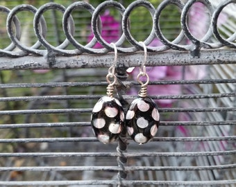 Black Polka Dot Earrings