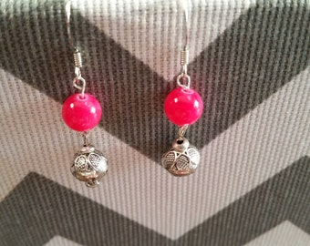 Sale - Pink and Silver Dangle Earrings