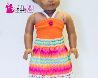 American made Girl Doll Clothes, 18 inch Girl Doll Clothing, Trendy Maxi Skirt with Halter Top made to fit like American girl doll clothes