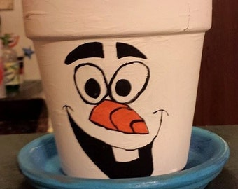 Olaf Inspired Terra Cotta Pot