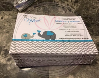 Its a boy babyshower elephant invitations