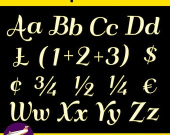 Yellow and White Alphabet Clip Art + Numerals, Punctuation and Math Symbols