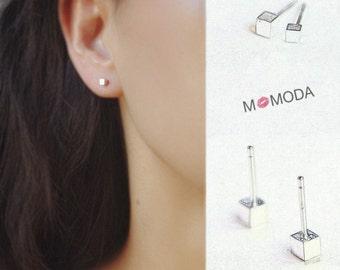 MOMODA sterling silver cubic stud earrings,simple silver stud earrings