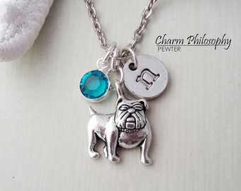 English Bulldog Necklace - Monogram Personalized Initial and Birthstone - Silver Dog Pendant