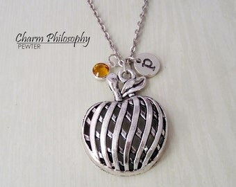 Pumpkin Necklace - Antique Fall / Autumn Charm - Halloween Jewelry - Monogram Personalized Initial and Birthstone
