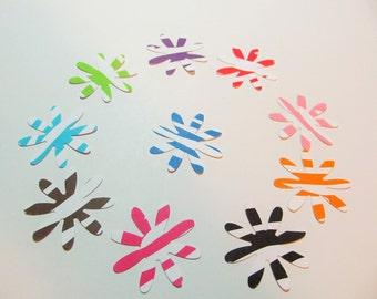 50 Flower Die Cuts  - Zebra Pattern Cardstock - Favor Tags - Card Making - 10 Colors (5) each - Confetti