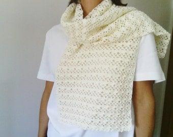 Crochet Scarf, Cream Handknit Scarf, Cotton Hand Knit Scarf,Cream Scarf,Cotton Knitted Scarf,Cream Knitted Scarf