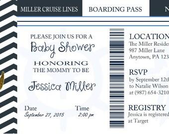 Admit one nautical baby shower invite digital download