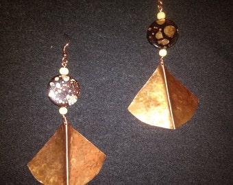 Fan Fold Formed Copper Earrings