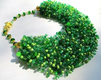 Lime green seed bead necklace – green beads necklace with cat eye – airy multi strand seed bead necklace
