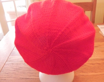 Lovely hand knitted red beret/hat/cap