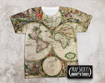 Antique World Map T Shirt All over Print Globe shirt earth art, renaissance map, copper engraved atlas, historic map