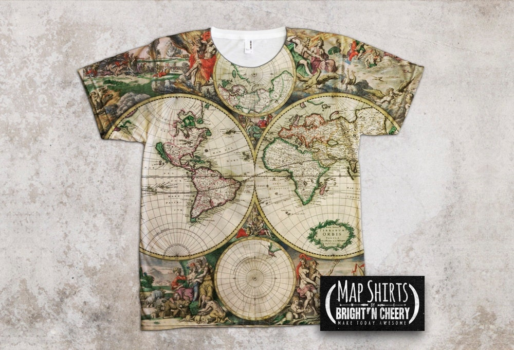 Antique World Map T Shirt All over Print Globe shirt earth
