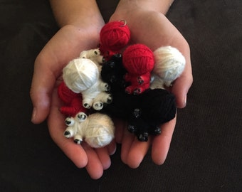 Cute Little String Monster Voodoo Doll Keychain Babies - Red, Black & White