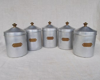 Set of 5 French Aluminium Storage Containers,French Vintage Storage Containers,
