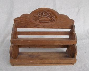Two Tier Pine Shelf Rack, Vintage Pine Shelf Rack,