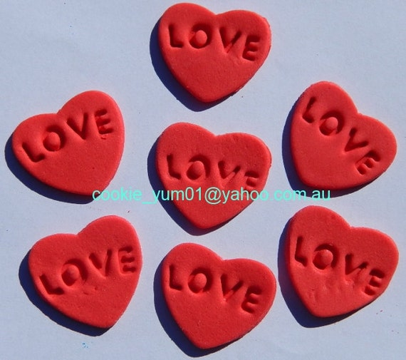 Edible Cake Decorations Hearts : 16 edible EMBOSSED LOVE HEARTS cake decorations cupcake