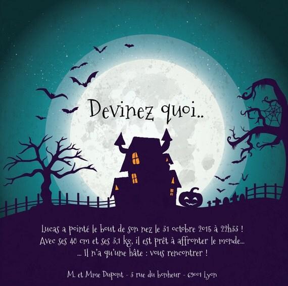 faire part naissance halloween