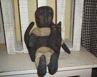 Primitive Handmade Squirt Doll and His Kitty Dirt