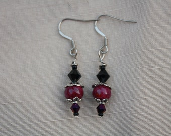 Earrings drops purple/Burgundy