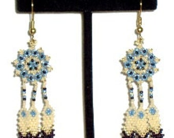 Sun and Feathers Earring Beading Pattern