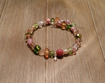 Pink & Green Beaded Wrap Bracelet (#013)