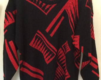 Vintage sweater 80's abstract shapes red black Size M/L