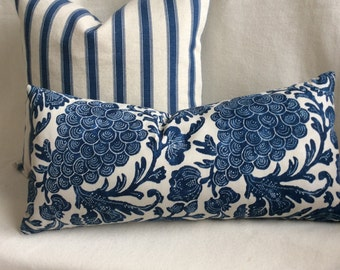 Designer Pillow Cover Pair -  Indigo/cream