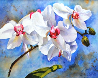 Floral Watercolour without glass - Dancing Orchids