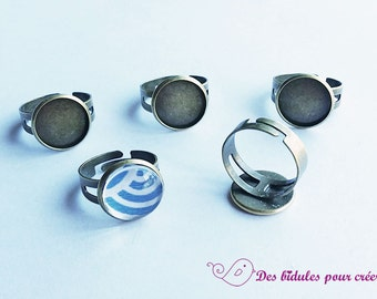5 bronze rings brackets and 14mm glass cabochons
